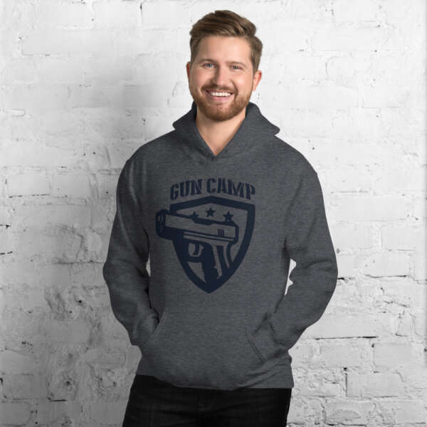 dark gray dark blue the gun camp hoodie unisex