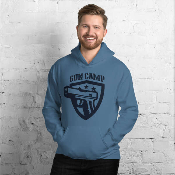 dark blue the gun camp hoodie unisex