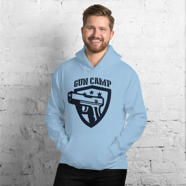 light blue the gun camp hoodie unisex